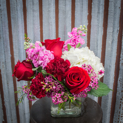 Glass Cube Arrangement - Reds, Pinks, & Whites from Marion Flower Shop in Marion, OH